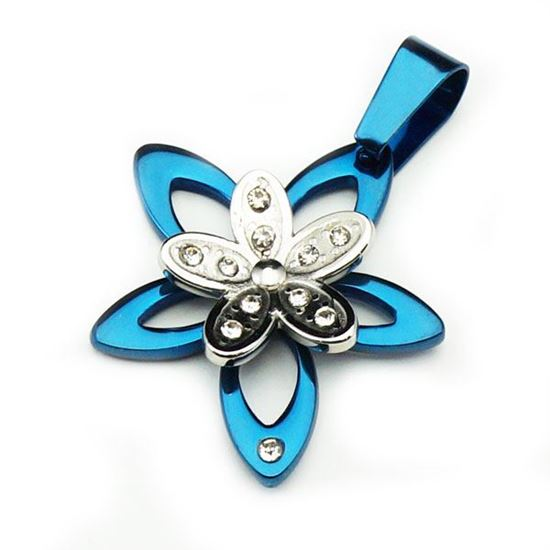 Picture of Blue Enamel Flower Pendant Stainless Steel