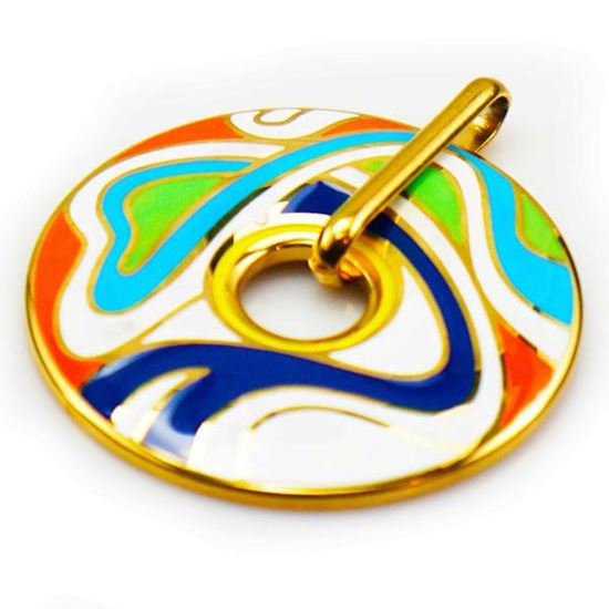 Picture of Colorful Pendant Stainless Steel Enamel Gold Plating