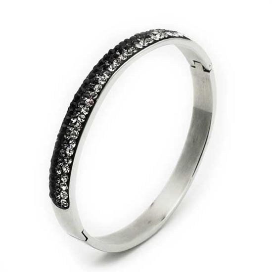 Picture of Black White Crystal Bangle Stainless Steel