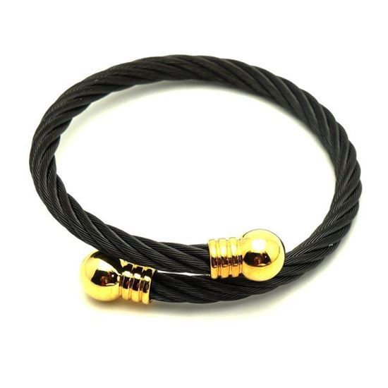 Picture of Stainless Steel Black Cable Wire Bangle