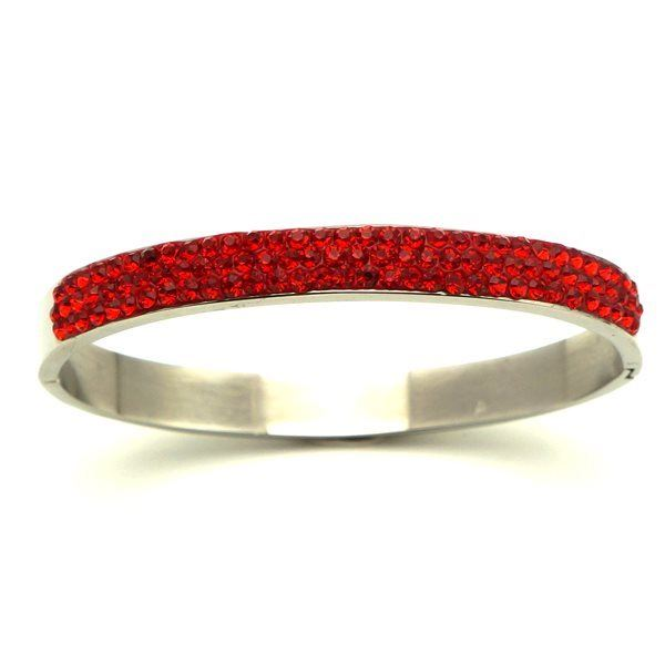 Picture of Red Crystal Bangle Cuff Stainless Steel High Quality