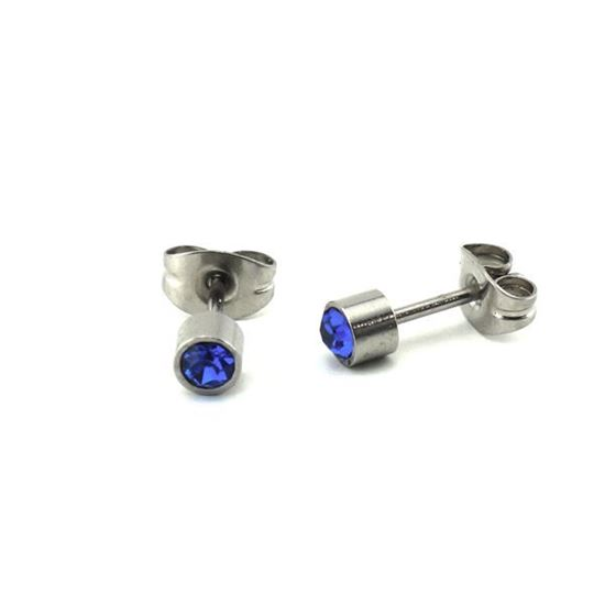 Picture of Stud Earrings Stainless Steel Blue Crystal