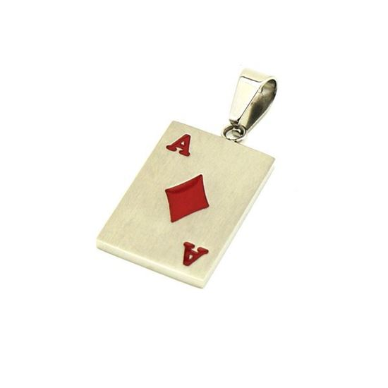 Picture of Card A Pendant Stainless Steel Red Enamel