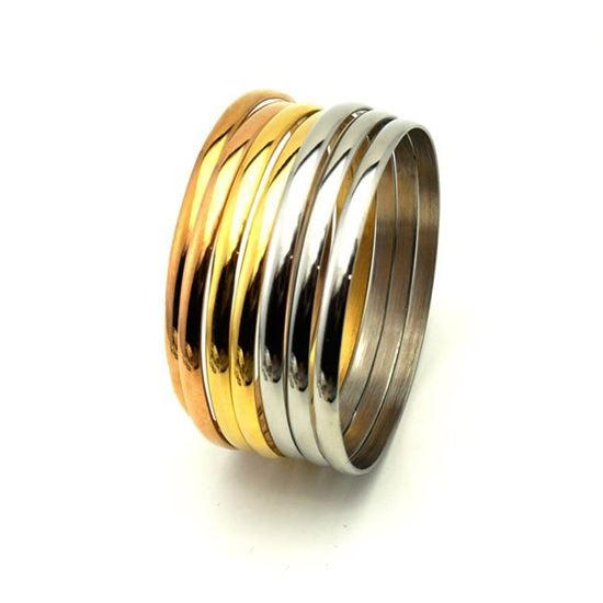 Picture of Girl Set Bangles Stainless Steel Three Gold