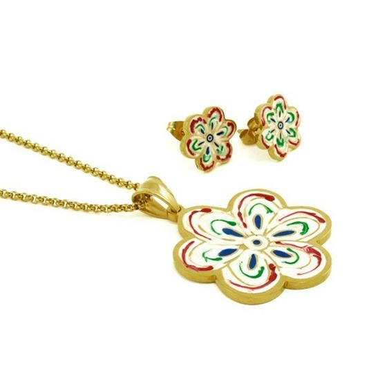 Picture of Enamel Flower Set  IP Plating S Steel