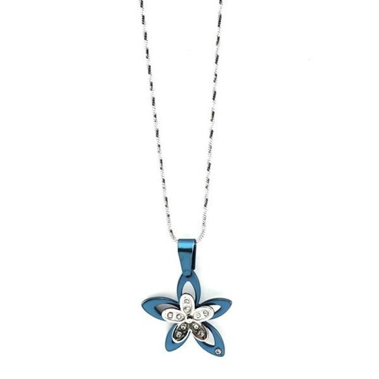 Picture of Blue Flower Necklace Stainless Steel Enamel