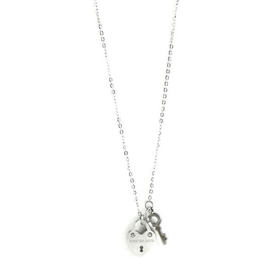 Picture of ANFLO Silver Heart Lock Necklace Stainless Steel