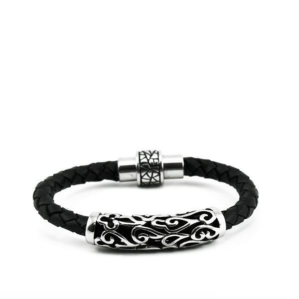 Picture of MIS Black Leather Bracelet Stainless Steel