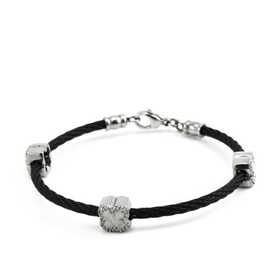 Picture of Black Cable Bracelet Cuff Stainless Steel