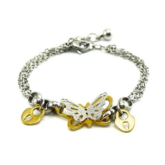 Picture of MIS Butterfly Bracelet Stainless Steel Two Gold Tone