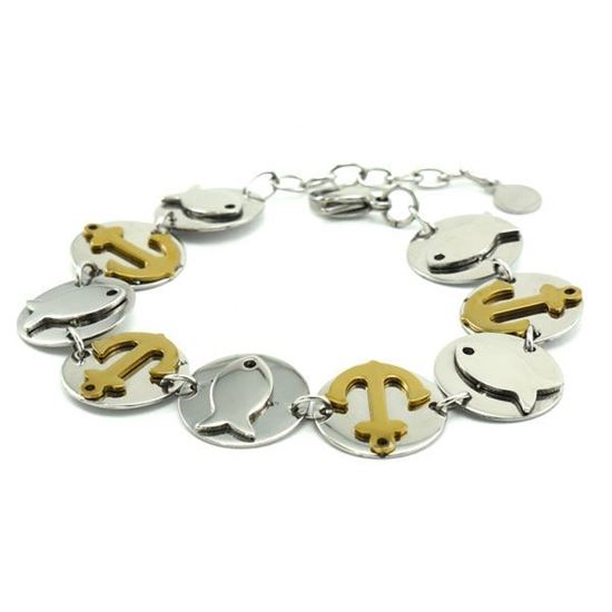 Picture of MIS Coin Fish/Anchor Bracelet Stainless Steel