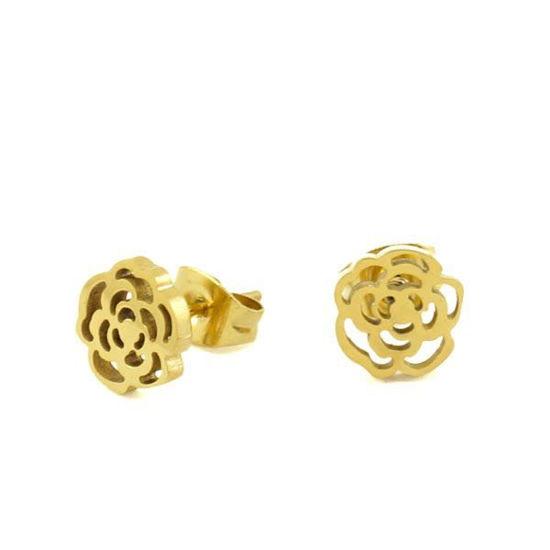 Picture of Flower Stud Earrings Stainless Steel