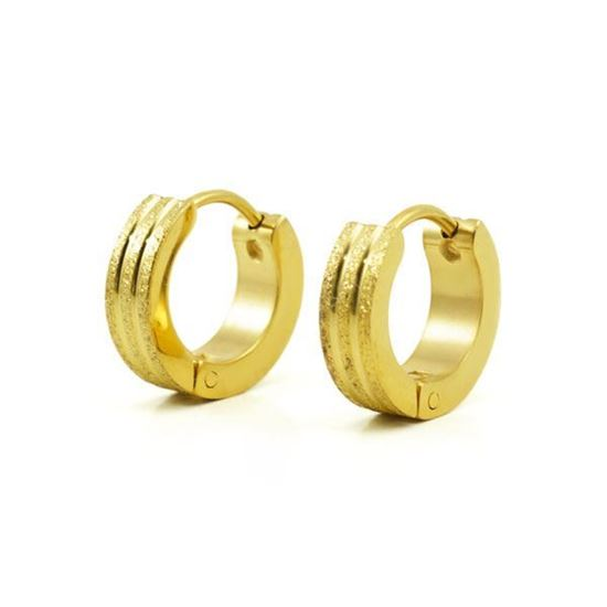 Picture of Hoop Huggie Earrings Stainless Steel Gold Plating