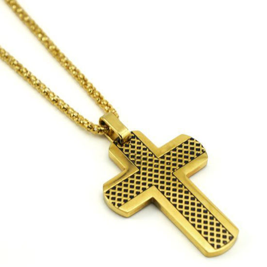 Picture of Stainless Steel Gold Plating Cross Necklace