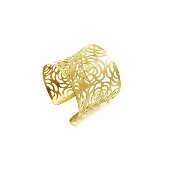 Picture of Flower Bangle Bracelet Stainless Steel Gold Plating