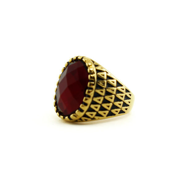 Picture of Men / Woman Stone Ring Stainless Steel Gold