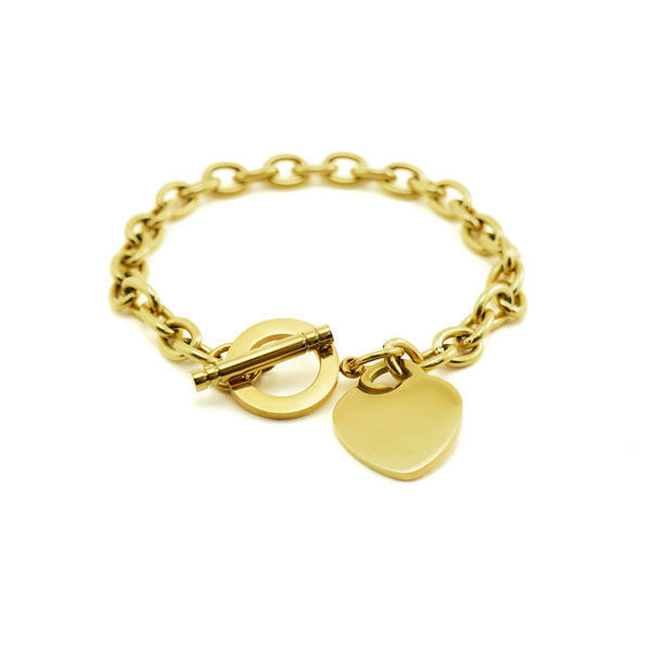 Picture of MIS Toggle Heart Bracelet Stainless Steel Gold Plating