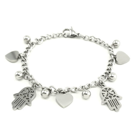 Picture of Hamsa and Hearts Charms Stainless Steel Bracelet