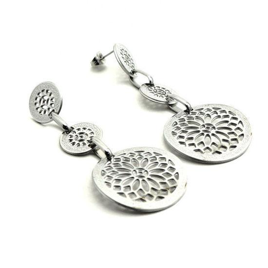 Picture of Flower Dangling / Stud Earrings Stainless Steel