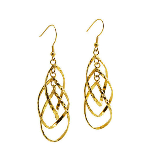 Picture of Stainless Steel Gold Plating Dangling Earrings