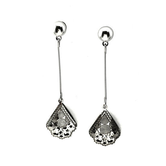 Picture of Flower Dangling Stud Earrings Stainless Steel