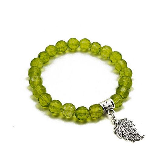 Picture of Crystal Handmade Bracelet Charm Leaf