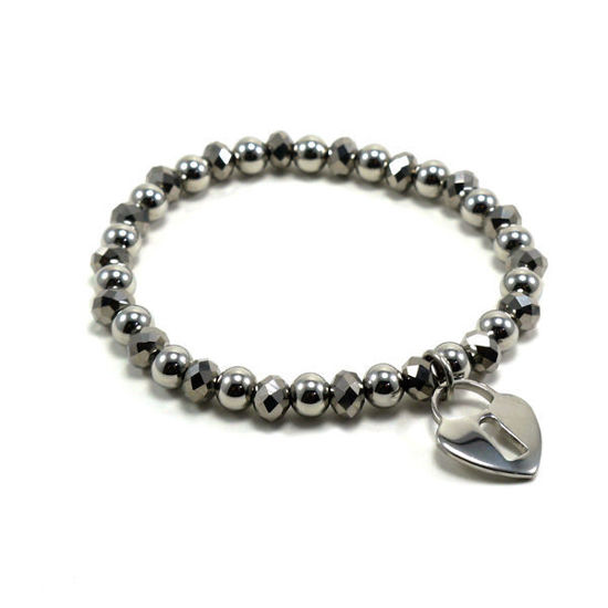 Picture of Crystal Charm Bracelet Stainless Steel Polished