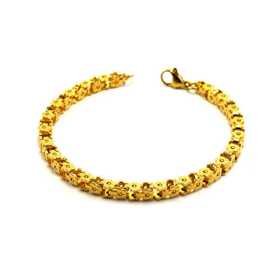 Picture of Stainless Steel Embraided Flower Bracelet Gold Plating