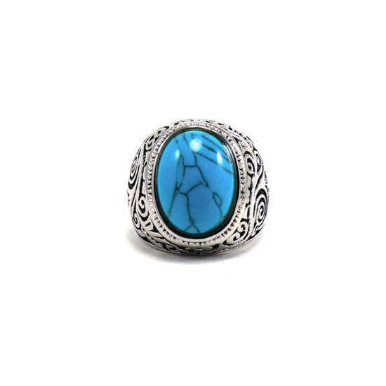 Picture of Men Turquoise Stone Ring Stainless Steel