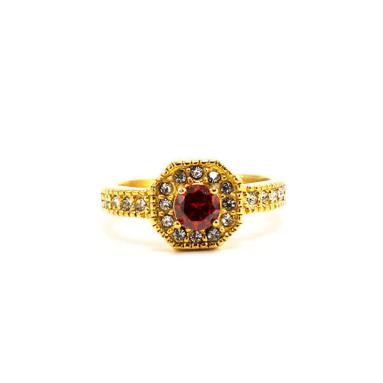 Picture of Red Stone Stainless Steel Gold Plating Ring