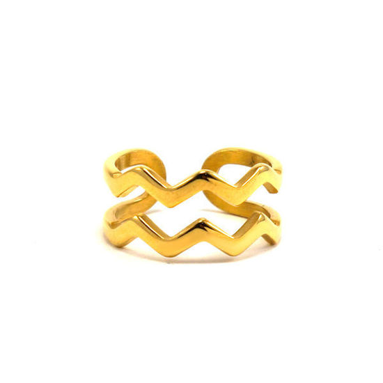Picture of Stainless Steel Gold Platin Waves Ring
