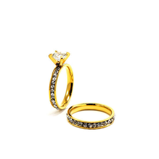 Picture of Crystal Stainless Steel Gold Plating Ring