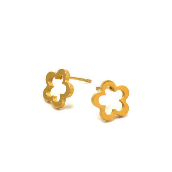 Picture of Flower Stud Earrings Stainless Steel Gold Plating