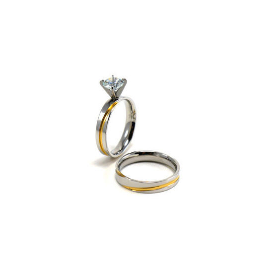 Picture of Woman Engagement Wedding Set Ring Stainless Steel