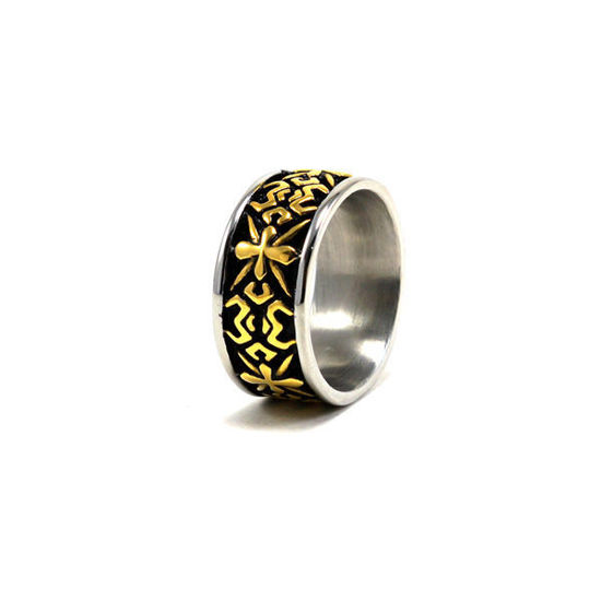 Picture of Men Black Gold Ring Stainless Steel