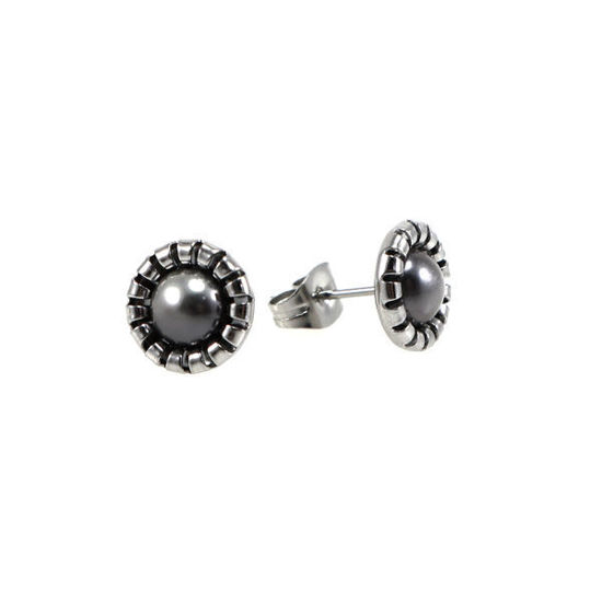 Picture of Stud Pearl Earrings Stainless Steel Silver
