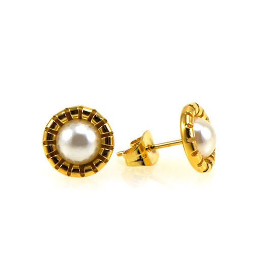 Picture of Stud Pearl Earrings Stainless Steel Gold Plating