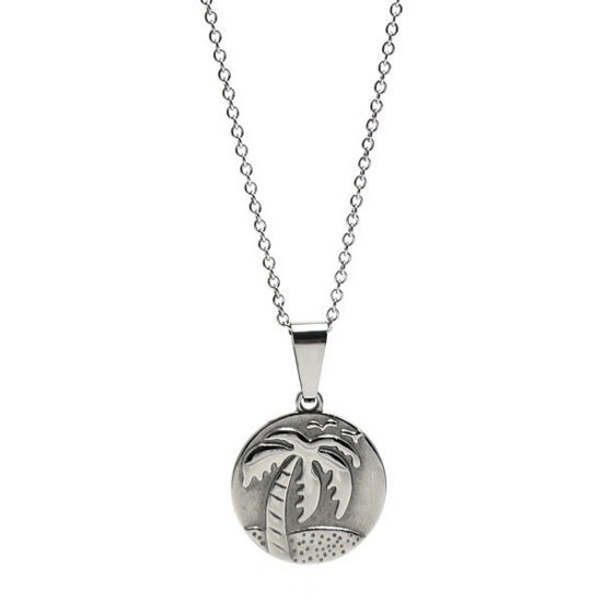 Picture of Coin Palm Tree Necklace Stainless Steel