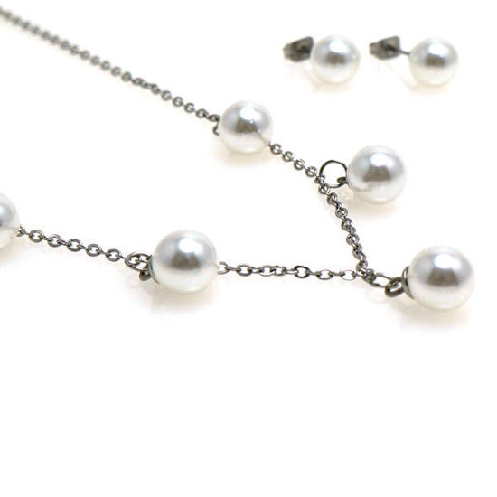 Picture of Pearl Necklace Set Stainless Steel
