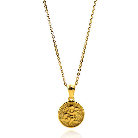 Picture of ANFLO Gold Coin  Necklace Stainless Steel