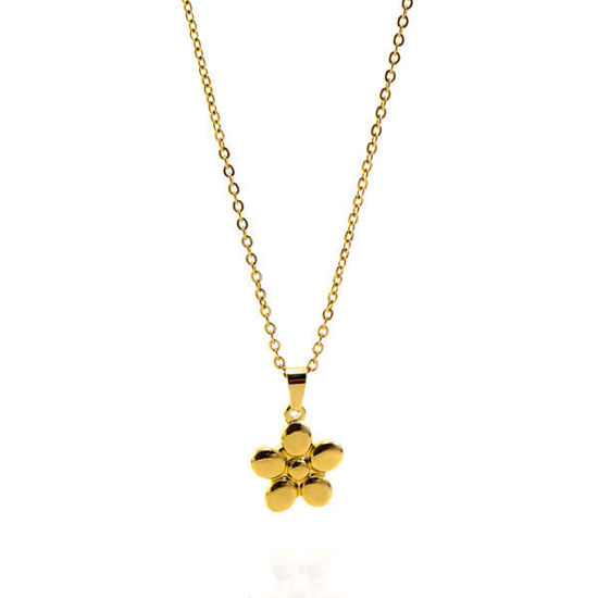 Picture of Flower Necklace Stainless Steel Gold Plating