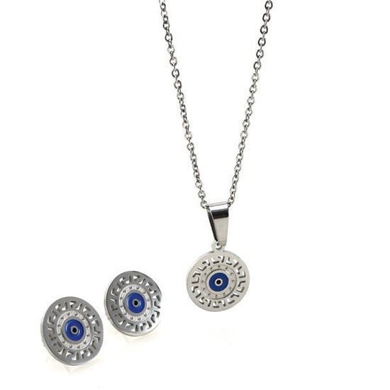 Picture of Evil Eye Necklace Earrings Stainless Steel Set