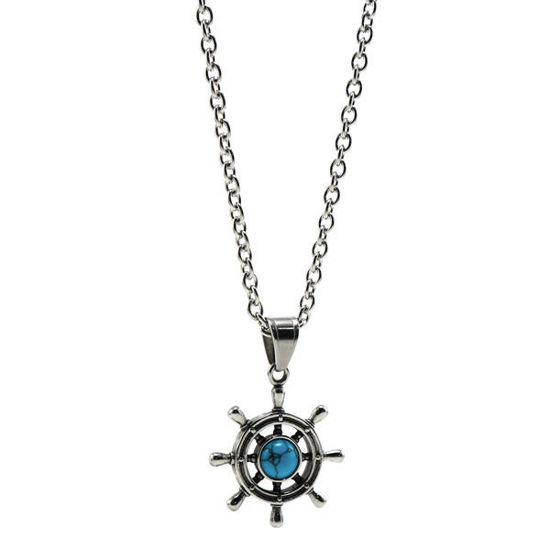 Picture of Ship Wheel Stainless Steel Necklace