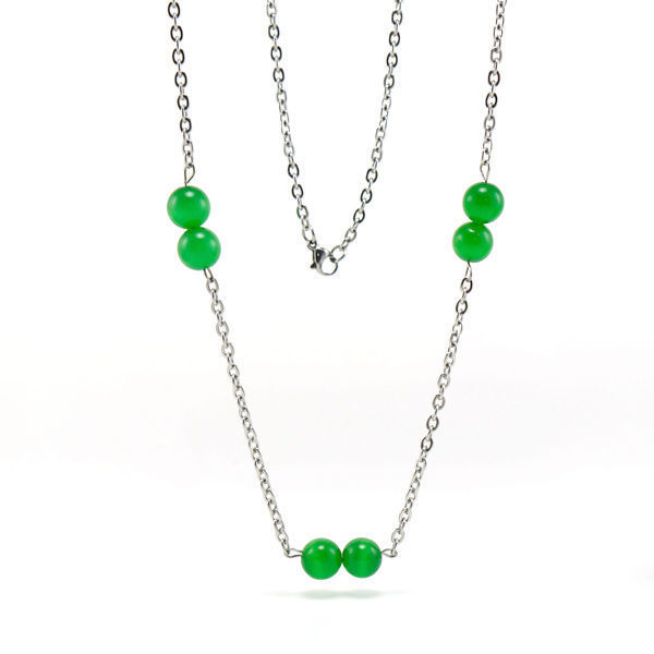Picture of Long Green Bead Necklace Stainless Steel