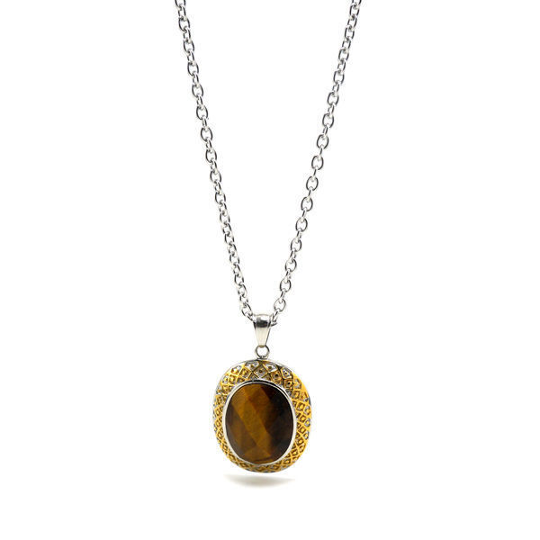 Picture of Tiger Eyes Stone Necklace Stainless Steel