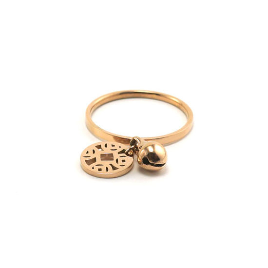 Picture of Gold Rose Bell Ring Stainless Steel High Quality