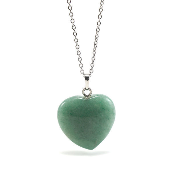 Picture of Semi Precious Jade Heart Stone Necklace Stainless Steel
