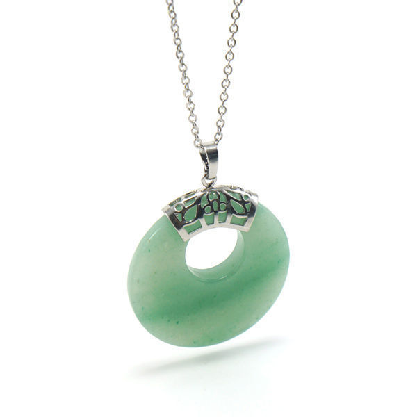 Picture of Semi Precious Jade Stone Necklace Stainless Steel