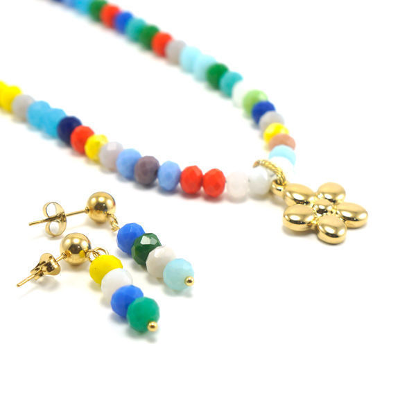 Picture of Color Bids  Necklace Stainless Steel Set