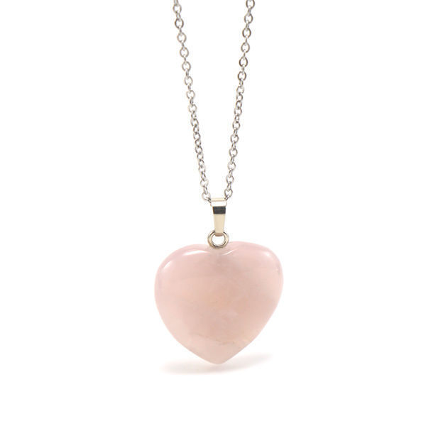 Picture of Semi Precious Rose Quartz Heart Stone Necklace Stainless Steel